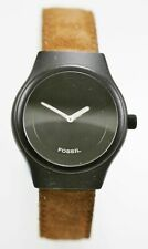 Fossil Big Tic Watch Mens Black Stainless Steel Leather Brown 50m Battery Quartz