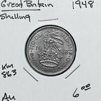 1948 GREAT BRITAIN SHILLING COIN, KING GEORGE VI, KM# 863, AU