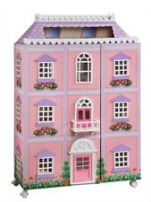 """New London Mansion 3 Story 50"""" H Pink Purple Doll House with Dollhouse Furniture"""
