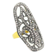 14K Gold Ring Silver Handmade Diamond Studded Wedding Vintage Style PY
