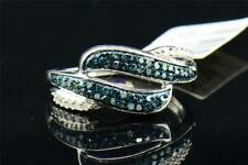 Blue Diamond Swivel Fashion Band White Gold Right Hand Cocktail Ring 1/3 Ct.