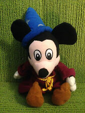 """DISNEY STORE - MICKEY MOUSE SORCERER 10"""" PLUSH SOFT BEANIE TOY - VERY GOOD COND"""
