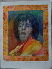 GUILLAUME AZOULAY ROCK ON MIXED MEDIA ORIGINAL MICK JAGGER SIGNED W/COA