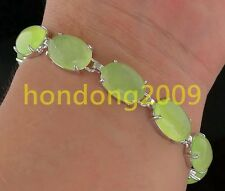 NEW ARRIVAL Natural Green PREHNITE GEM STONE SILVER BRACLET 7''