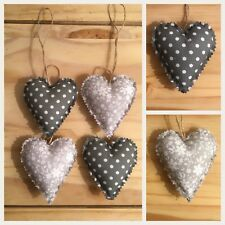 Set Of 4 Shabby Chic Hanging Love Hearts/ Padded Hanging Hearts