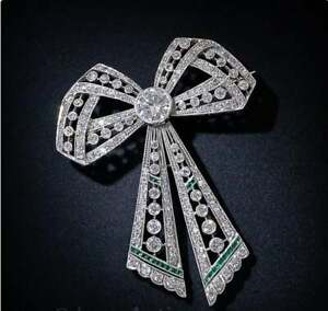 Antique Emerald & Diamond 6.80 Ct Art Deco Bow Brooch Pin in 14k White Gold Over