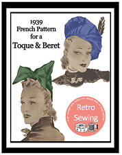 1930's Beret and Hat Vintage Sewing Pattern  - Reproduction Pattern