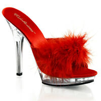 Fabulicious LIP-101-8 Shoes Red Satin-Fur Clear Slide Slip On High Heels