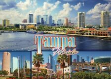 Skyline Tampa Florida, Amalie Arena NHL Hockey Stadium Boats Water FL - Postcard