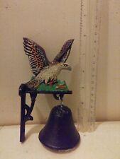 "Cast iron bird in flight bell door knocker hanger Painted unmarked 6"" tall"