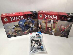 Lot Ninja Thunder Swordsman & Petit Block Bull Dog Daiso - 3 Building Block Sets