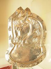 Vintage The Horse High Relief Large 17''x 12'' Footed Brass/ Silver Plate ? Tray