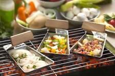 Grillpfanne Grillpfännchen BBQ Fleisch Fisch Gemüse 2er-Set Edelstahl