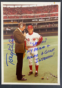 1970's Tony Kubek Lengthy Inscription Signed Wire Photo w/ Sparky Anderson Reds