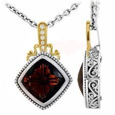 Philip Andre 18K Gold & Sterling Silver Diamond & Cinnamon Qtz Necklace Enhancer