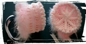 New Handmade Crochet Baby Pink 0-3+ months Traditional Style Gypsy Baby Bonnet