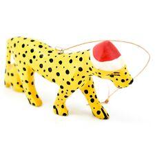 Hand Carved & Painted Jacaranda Wood Santa Hat Cheetah Safari Christmas Ornament
