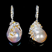 Baroque Pearl Earrings Silver 925 Sterling Handmade Unique Earrings  /E39673