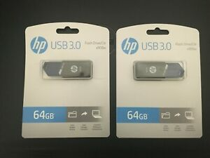 Lot of 2 HP 64GB USB 3.0 Flash drives, NEW