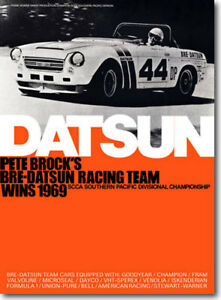"""1969 BRE Datsun Roadster Champion Poster (24""""x33"""") sold by Peter Brock BRE!"""
