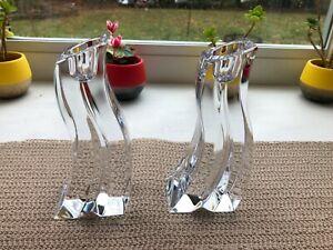 "Lenox Cascade Ovations 6"" Leaded Crystal Candlesticks Pair Made in Slovenia"