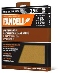 "New FANDELI SANDPAPER SHEETS Assorted Grits (80,120,220), ""9x11"", 25 Sheet Pack"
