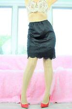 VTG Black Smooth Nylon Wide Fancy Scalloped Lace Classy Half Slip Skirt sz M
