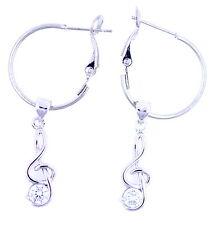 color argento chiave di violino musicale nota con trasparente zircone orecchini