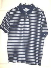 OLD NAVY Men's Short Sleeve Polo Shirt Regular Fit Blue & White Stripes Size L