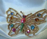 Large Gold Tone Rhinestone Enamel Vintage 80's XX Pretty Butterfly Brooch 277Ap8