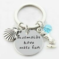 *UK* 925 Silver Plt 'Mermaids Have More Fun' Engraved Keyring The Little