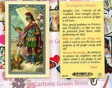 Saint St. Florian with Firefighter's Prayer - Laminated Holy Card