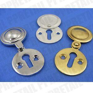CHOOSE: BRASS CHROME Or SATIN - KEYHOLE SWING COVER Escutcheon Door Key Plates