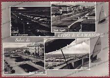 LUCCA CAMAIORE 15 LIDO - SALUTI da.. VEDUTINE Cartolina FOTOGRAFICA viagg. 1957