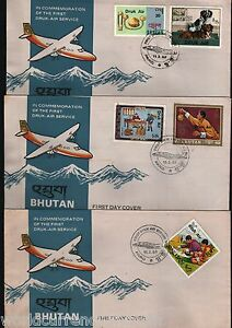 BHUTAN 1983 DRUK AIR SERVICES OVER PRINT RARE FDC FIRST DAY COVER COMPLETE SET