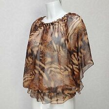 B.YOUNG sheer brown Animal print Boat neck Elasticated Frill flare sleeve Top 8