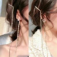 Chic Women Asymmetric Long Chain Rhinestone Pearl Tassels Dangle Stud Earrings