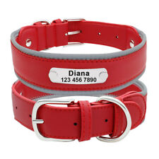 Personalised Leather Dog Collar for Large Dogs Reflective for Bulldog Labrador