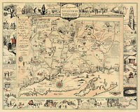 Pictorial Historic Map Commonwealth of Connecticut Wall Art Poster Print Decor