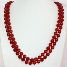 "stunning long 36"" 8mm round natural red Ruby beads necklace"