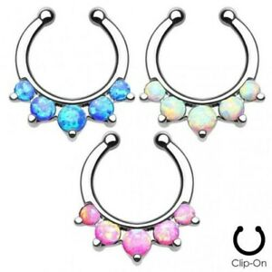 False Piercing Septum 5 Opals