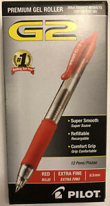 12 Count Pilot G2 0.5mm Roller Ball Retractable Gel Pen, Red - 12 Pack, Ink Pen