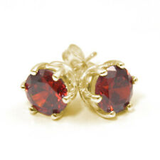 Earrings 6 Claw Garnet 2ct Diamond Unique Solitaire Solid 9ct Gold Studs