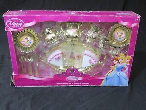 New Disney Store Princess Dining Set ~ Gold Tea Cups, Pot, Plates & More RARE