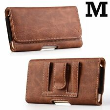 iPhone 6/7/8/X - Brown Leather Belt Clip Horizontal Pouch Card Slots Case Cover