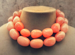 Aimee Fuller Salmon Rose Pink Peach Jade Stone Statement Necklace Chunky Jewelry