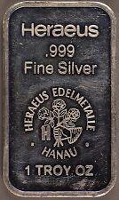 Rare!!! Heraeus Edelmetalle Hanau - 1 Ounce .999 Fine Silver Bar