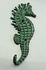 """Silver Cast Iron Metal 6"""" Seahorse Tail Towel Hanger/Hook."""