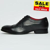 Base London Bailey Men's Formal Dress Smart Leather Brogue Shoes Brown