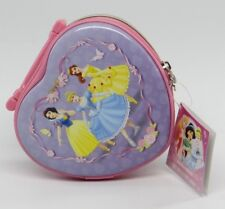 DISNEY PRINCESS (Snow White, Cinderella, Belle Ariel)~HEART SHAPED PURSE TIN~NEW